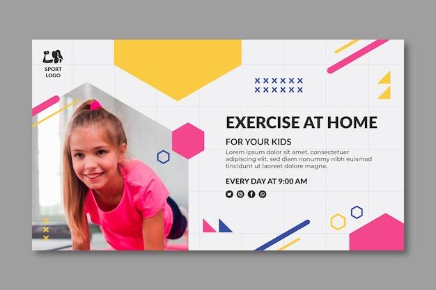Modello di banner di sport a casa