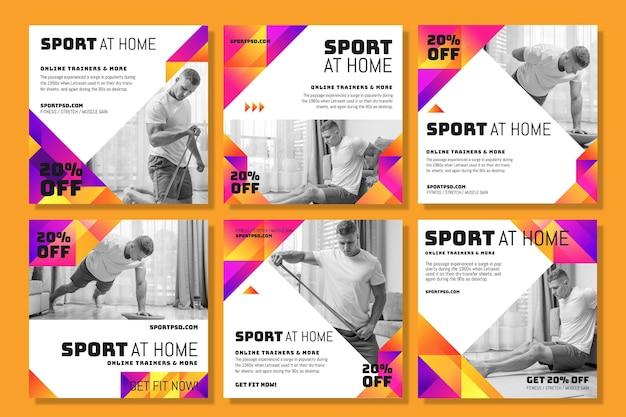 Post di instagram di sport a casa