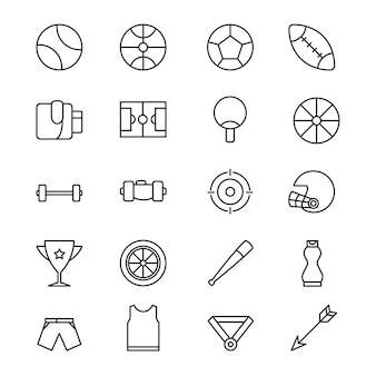 Icone di sport in stile design di linea