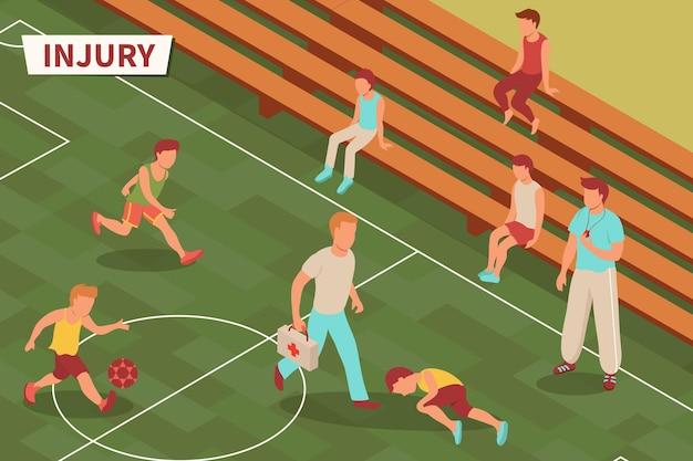 Composizione isometrica di lesioni sportive con testo e campo da calcio con giocatore adolescente ferito e illustrazione dei suoi compagni di squadra