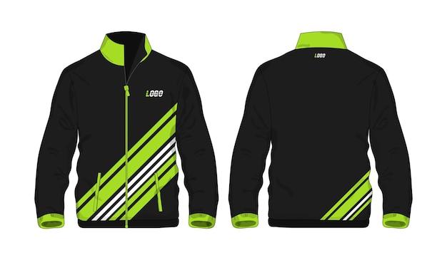Giacca sportiva modello verde e nero per il design su sfondo bianco. illustrazione vettoriale eps 10.
