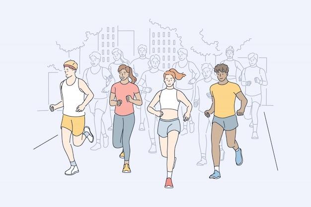 Sport, jogging, maratona, concetto di attività