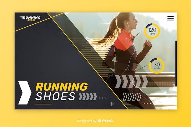 Pagina di destinazione sportiva con foto Vettore Premium