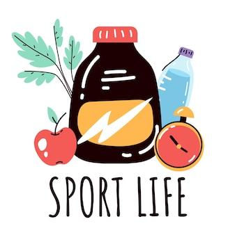 Sport life protein bodybuilding nutrizione logo design elemento concept