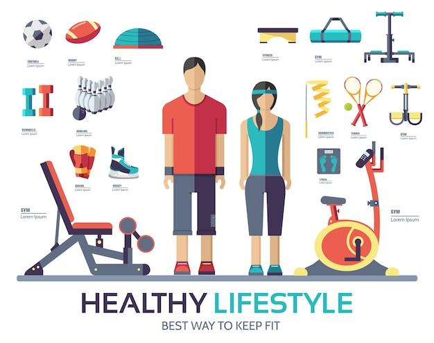 Attrezzatura del dispositivo infografica stile di vita sportiva