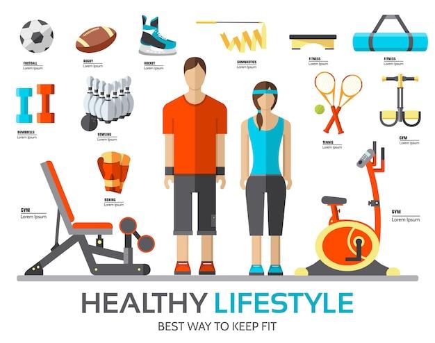 Stile di vita sportivo infografica con dispositivo da palestra