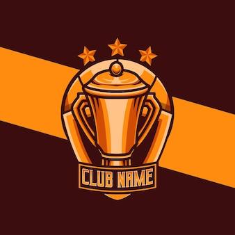 Squadra logo sportiva con illustrazione trofeo