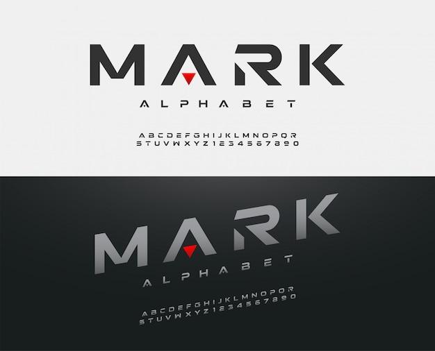 Carattere di alfabeto moderno sport. caratteri tipografici