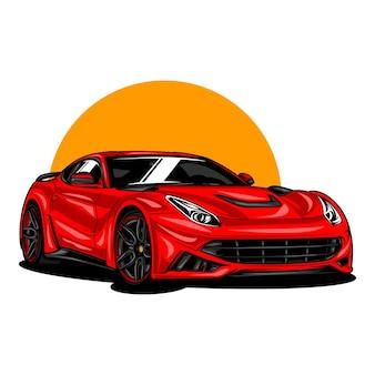 Illustrazione di auto moderne sportive su tinta unita
