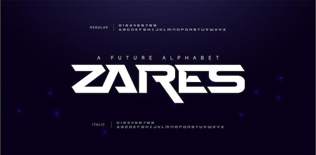 Carattere alfabeto sport moderno futuro