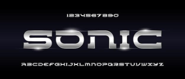 Carattere alfabeto futuristico moderno sport. carattere tipografico in stile urbano
