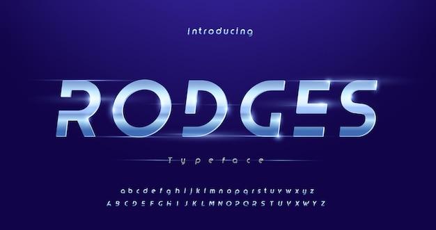 Caratteri di alfabeto corsivo di tipografia futuristica moderna di sport
