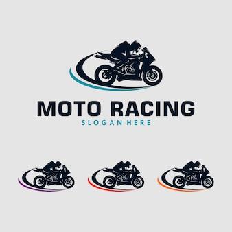 Disegno del logo dell'illustrazione del motociclo sportivo