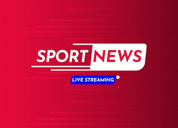Illustrazione di progettazione del modello di vettore dell'etichetta di streaming in diretta di notizie di sport