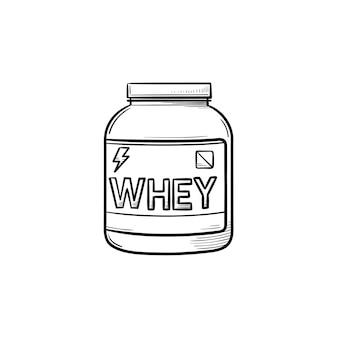 Icona di doodle di contorno disegnato a mano di nutrizione sportiva