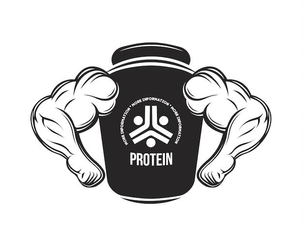 Nutrizione sportiva barattolo proteico proteine fitness manubri bevande energetiche bodybuilding integratore alimentare
