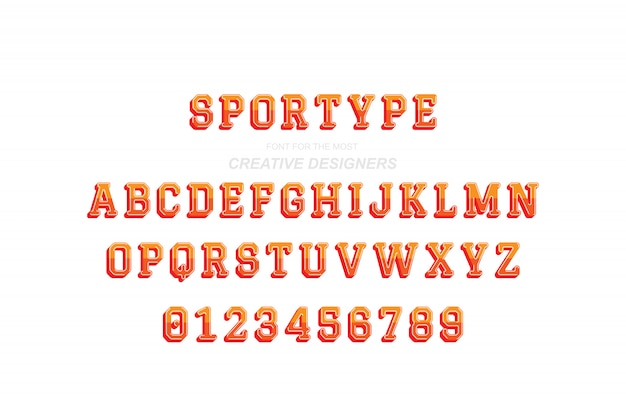 Sport lettere e numeri alfabeto in grassetto 3d originale