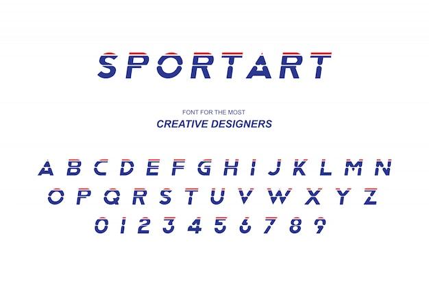 Sport lettere dell'alfabeto grassetto originale e numeri