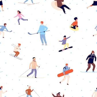 Modello sportivo. attività invernale, snowboard sci pattinaggio adulti e bambini. fondo di vettore di tempo attivo della neve di stagione. illustrazione del modello di attività sulla neve con snowboard e sci