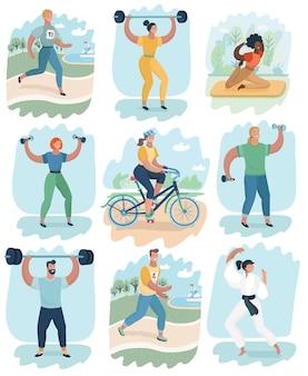 Sport persone attività icone set boxe calcio canottaggio canoa badminton basket pallamano prato t...