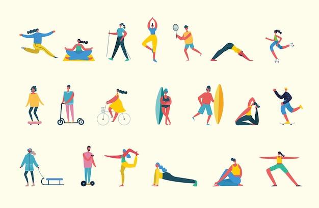 La gente di sport flat set con uomini e donne in bicicletta giocando a calcio e tennis illustrazione isolata