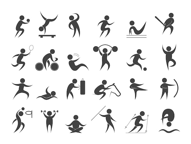 Set di persone di sport. raccolta di diverse attività sportive