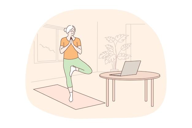 Sport, pilates, concetto di formazione. cittadino anziano della donna che fa gli esercizi del corpo di yoga aerobico di allenamento
