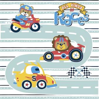 Sport racing cartoon con divertente corridore