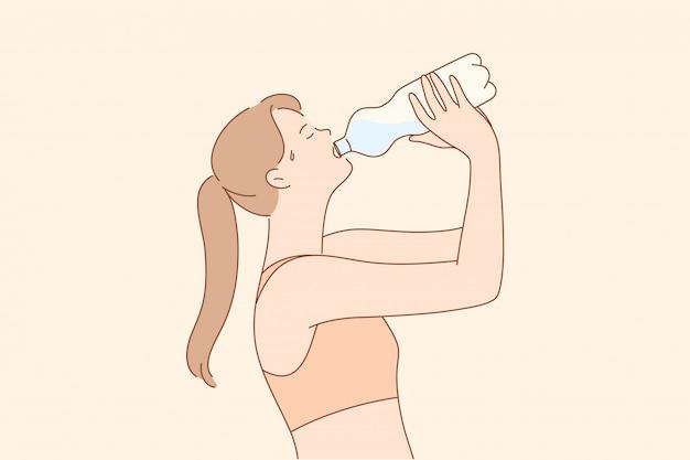 Sport, ricreazione, pausa, concetto di bere