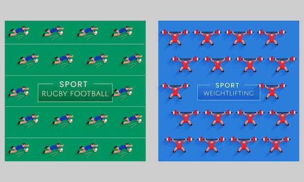 Sport rugby football e lo sfondo del modello di sollevamento pesi in due opzioni di colore.