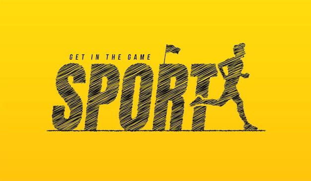 Testo di scarabocchio sportivo con corridore su sfondo giallo concetto di tipografia di scritte sportive disegnate a mano
