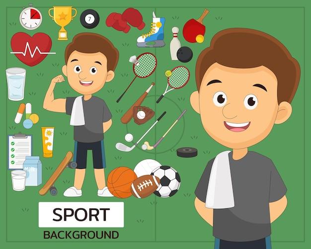 Icone piatte di concetto di sport set