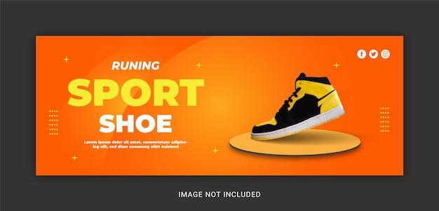 Modello di post sui social media per la copertina di facebook delle scarpe sportive