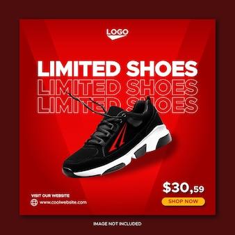 Modello di banner post facebook sui social media per la promozione di scarpe sportive