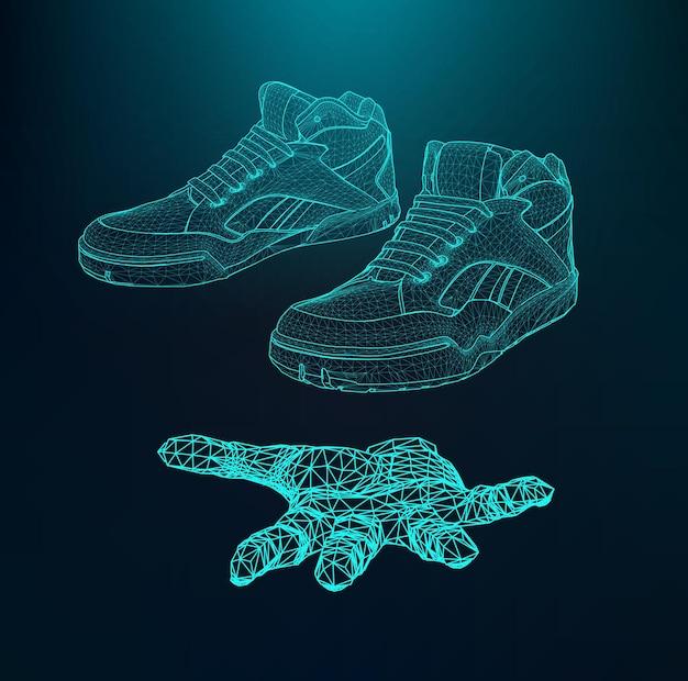 Scarpe sportive per la corsa sul braccio. la mano che tiene le scarpe. ambito di linee e punti.