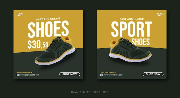 Modello di banner post sui social media di vendita di scarpe sportive