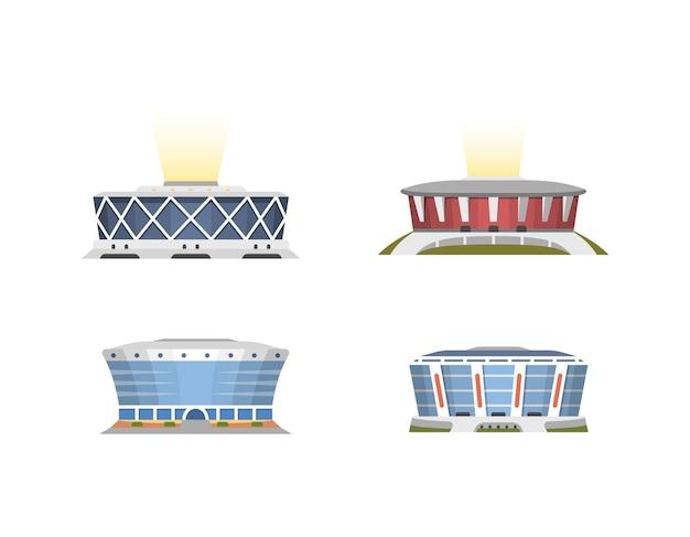 Collezione di vista frontale dello stadio sportivo in stile cartone animato
