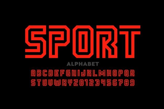 Font design in stile sportivo, lettere dell'alfabeto e numeri