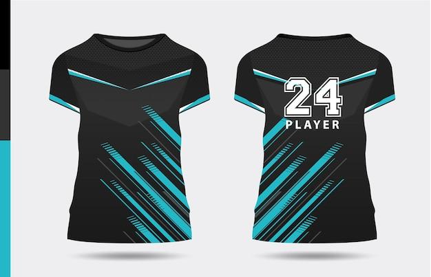 Sport elegante nero blu tshirt e abbigliamento design alla moda sagome tipografia stampa vettoriale