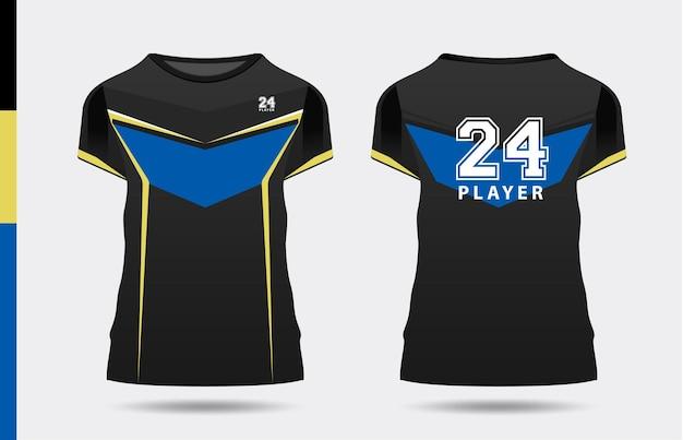 Sport elegante nero blu giallo tshirt e abbigliamento alla moda design sagome tipografia stampa
