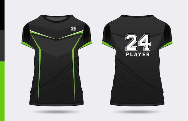 Sport elegante nero verde tshirt e abbigliamento design alla moda sagome tipografia stampa vettoriale