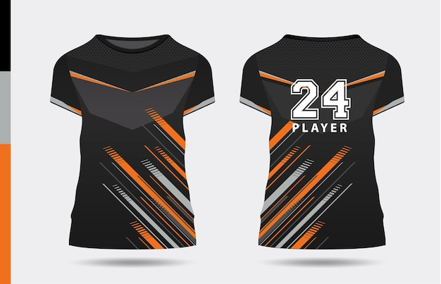 Sport elegante nero arancione tshirt e abbigliamento design alla moda sagome tipografia stampa vettoriale