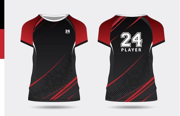 Sport elegante nero rosso tshirt e abbigliamento design alla moda sagome tipografia stampa vettoriale
