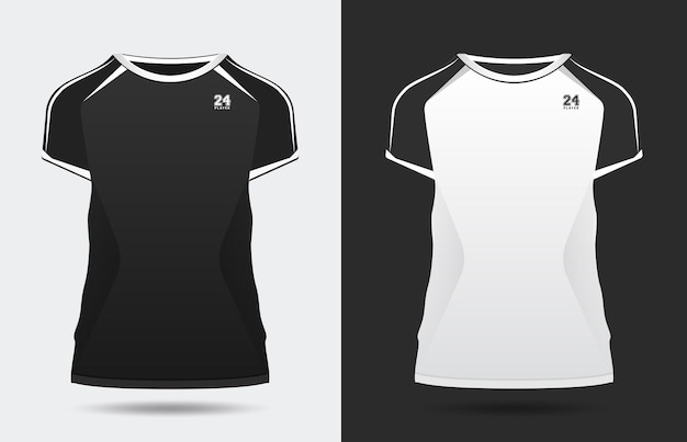 Sport elegante nero bianco tshirt e abbigliamento design alla moda sagome tipografia stampa vettoriale