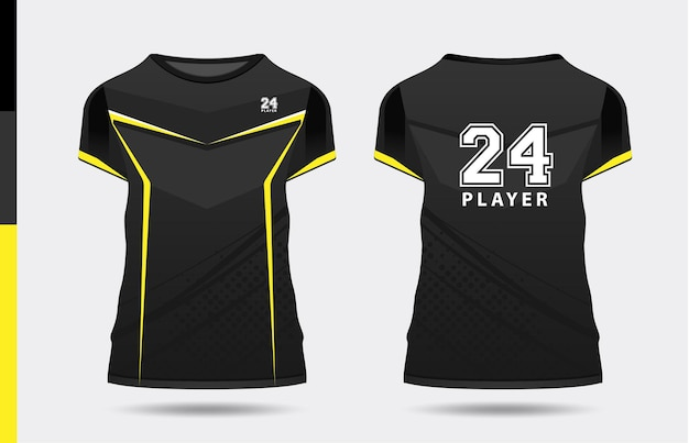 Sport elegante nero giallo tshirt e abbigliamento design alla moda sagome tipografia stampa vettoriale