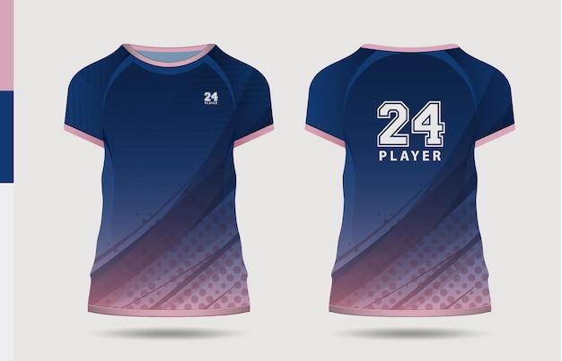 Sport elegante blu rosa tshirt e abbigliamento design alla moda sagome tipografia stampa vettoriale