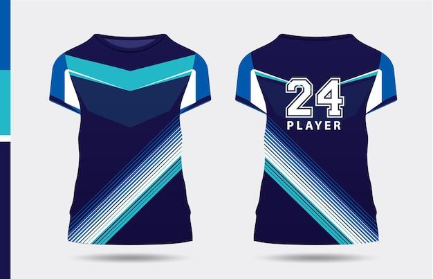 Sport elegante blu bianco tshirt e abbigliamento design alla moda sagome tipografia stampa vettoriale