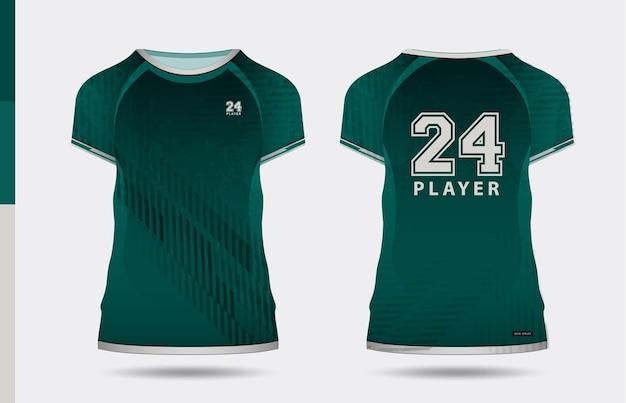 Sport elegante t-shirt verde e abbigliamento design alla moda sagome, tipografia, stampa, illustrazione vettoriale. vista anteriore e posteriore. illustrazione di vettore eps 10.