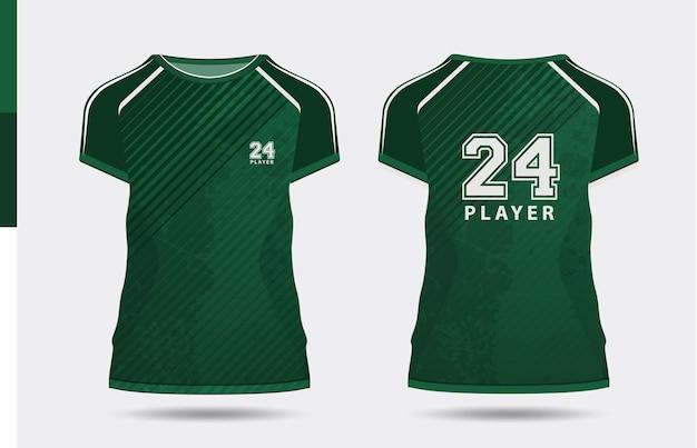 Sport elegante maglietta verde e abbigliamento design alla moda sagome tipografia stampa vettoriale