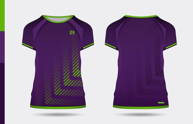 Sport elegante t-shirt verde viola e abbigliamento design alla moda sagome, tipografia, stampa, illustrazione vettoriale. vista anteriore e posteriore. illustrazione di vettore eps 10.